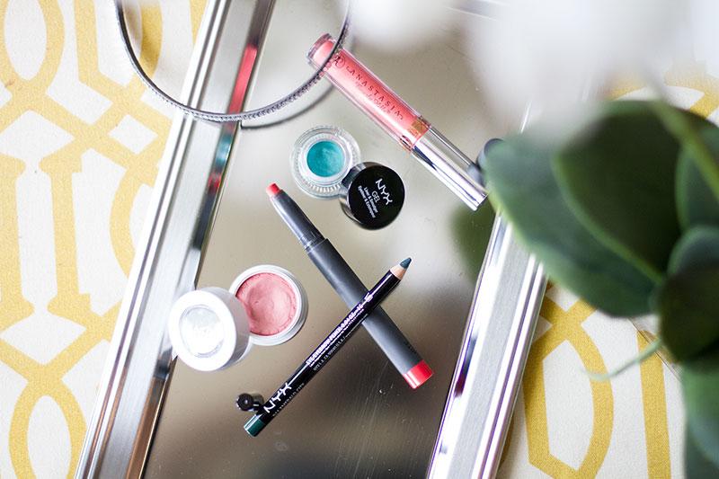 Summer Makeup, colourpop cosmetics, colour pop, green eyeliner, anastasia beverly hills, liquid lipstick
