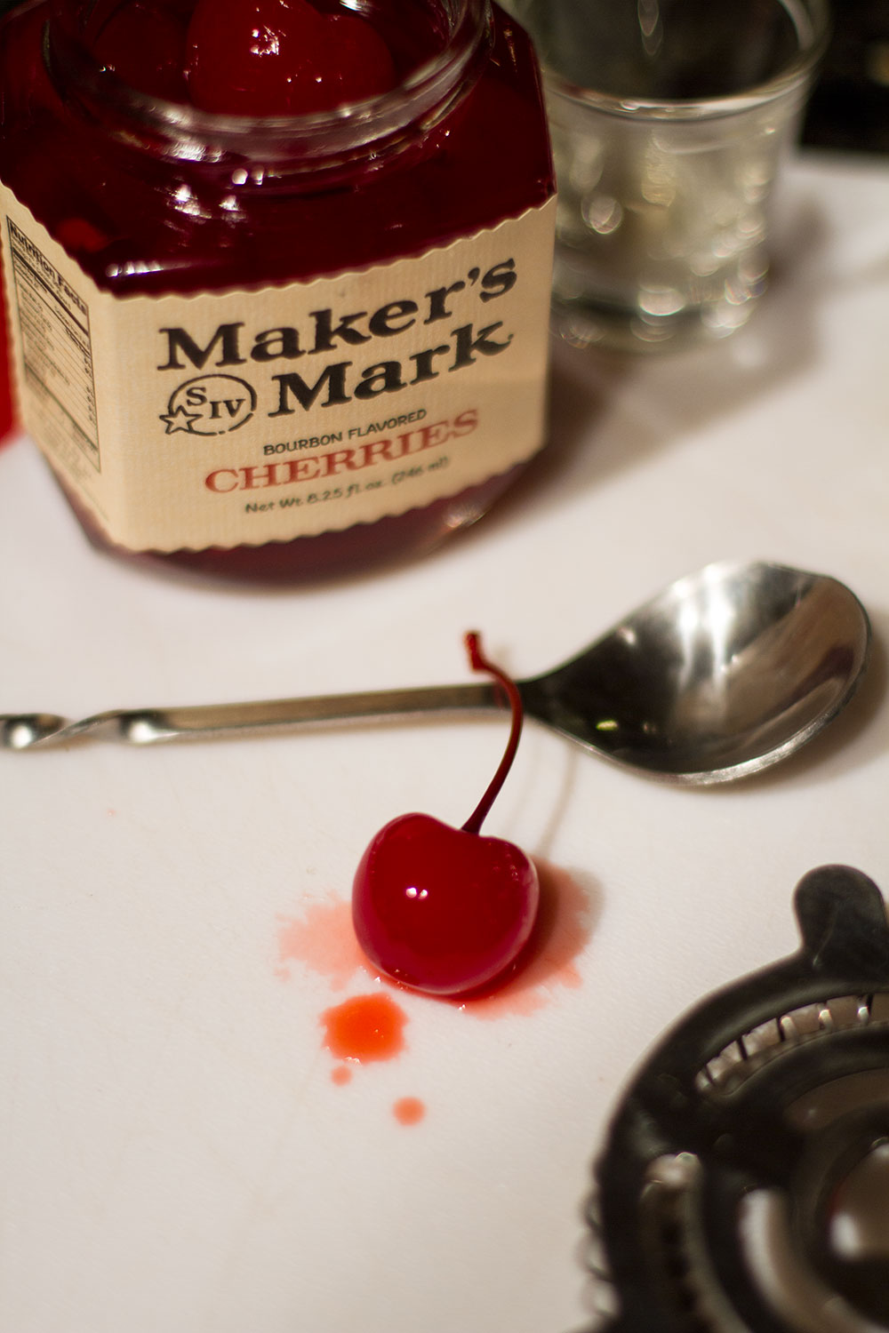 Manhattan Cocktail Recipe, makers mark cherries