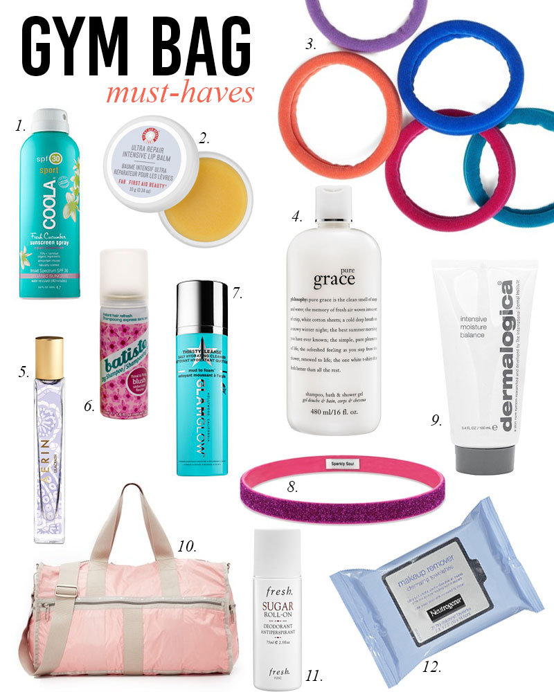 gym bag beauty must haves
