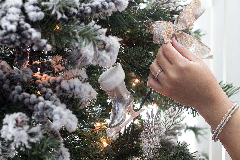 Silver Ice Skate Ornament - White Christmas Decor